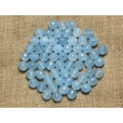 Fil 39cm 64pc env - Perles de Pierre - Jade Boules Facettées 6mm Bleu clair