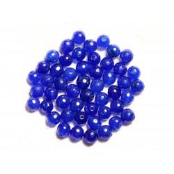 Fil 39cm 64pc env - Perles de Pierre - Jade Boules Facettées 6mm Bleu nuit roi