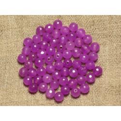 Fil 39cm 64pc env - Perles de Pierre - Jade Boules Facettées 6mm Violet Rose Fuchsia