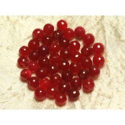 Fil 39cm 64pc env - Perles de Pierre - Jade Boules Facettées 6mm Rouge