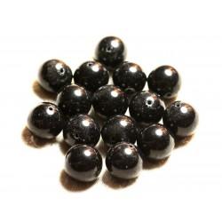 Fil 39cm 26pc env - Perles de Pierre - Jade Boules 14mm Gris Noir
