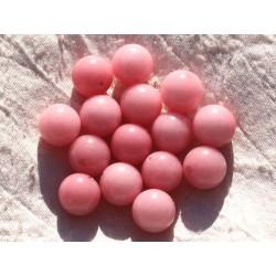 Fil 39cm 26pc env - Perles de Pierre - Jade Boules 14mm Rose Corail Pêche