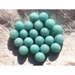 Fil 39cm 32pc env - Perles de Pierre - Jade Boules 12mm Bleu clair Turquoise