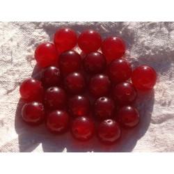 Fil 39cm 32pc env - Perles de Pierre - Jade Boules 12mm Rouge