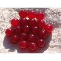 Fil 39cm 32pc env - Perles de Pierre - Jade Boules 12mm Rouge Rose Framboise