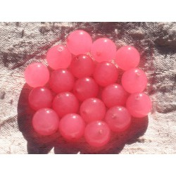 Fil 39cm 32pc env - Perles de Pierre - Jade Boules 12mm Rose Bonbon