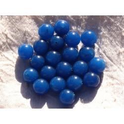 Fil 39cm 32pc env - Perles de Pierre - Jade Boules 12mm Bleu Roi
