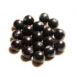 Fil 39cm 32pc env - Perles de Pierre - Jade Boules 12mm Gris Noir