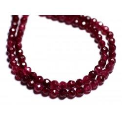 Fil 39cm 92pc env - Perles de Pierre - Jade Boules Facettées 4mm Rouge Rose Framboise