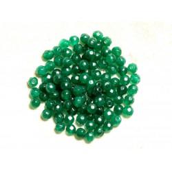 Fil 39cm 92pc env - Perles de Pierre - Jade Boules Facettées 4mm Vert Emeraude