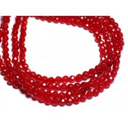Fil 39cm 92pc env - Perles de Pierre - Jade Boules Facettées 4mm Rouge vif