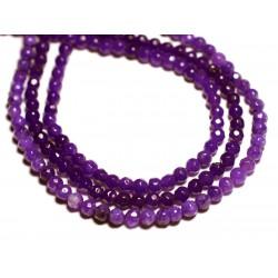 Fil 39cm 92pc env - Perles de Pierre - Jade Boules Facettées 4mm Violet