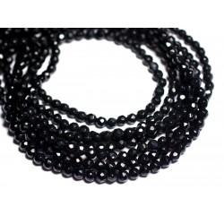 Fil 39cm 92pc env - Perles de Pierre - Jade Boules Facettées 4mm Noir