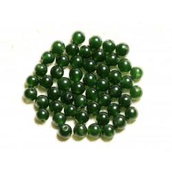 Fil 39cm 62pc env - Perles de Pierre - Jade Boules 6mm Vert Olive