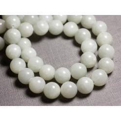 Fil 39cm 67pc env Jade Blanche et Vert Amande Boules 6mm Perles de Pierre
