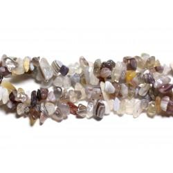 Fil 89cm 250pc env - Perles de Pierre - Agate Botswana Rocailles Chips 5-10mm