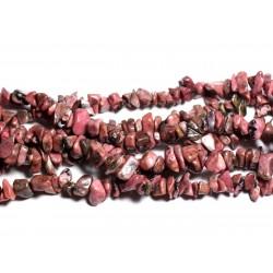 Fil 89cm 280pc env - Perles de Pierre - Rhodonite Rocailles Chips 5-10mm