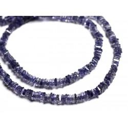 Fil 39cm 260pc env - Perles de Pierre - Iolite Cordiérite Rondelles Carrés Heishi 4-5mm