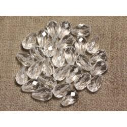 Fil 39cm 31pc env - Perles de Pierre - Cristal de Roche Quartz Gouttes Facettées 12x8mm