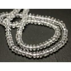 Fil 39cm 120pc env - Perles de Pierre - Cristal de Roche Quartz Rondelles Facettées 5x3mm