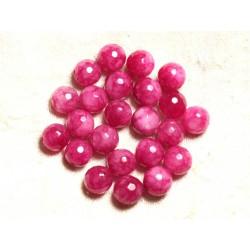 Fil 39cm 37pc env - Perles de Pierre - Jade Boules Facettées 10mm Rose Fuchsia