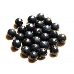 Fil 39cm 37pc env - Perles de Pierre - Jade Boules Facettées 10mm Gris noir