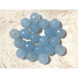 Fil 39cm 37pc env - Perles de Pierre - Jade Boules Facettées 10mm Bleu clair