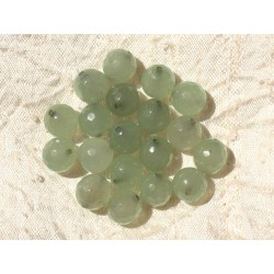 Fil 39cm 37pc env - Perles de Pierre - Jade Boules Facettées 10mm Vert clair