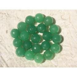 Fil 39cm 37pc env - Perles de Pierre - Jade Boules Facettées 10mm Vert Emeraude