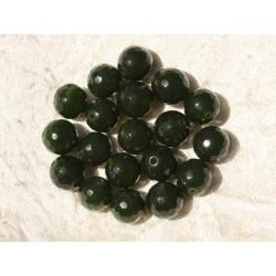 Fil 39cm 37pc env - Perles de Pierre - Jade Boules Facettées 10mm Vert Sapin