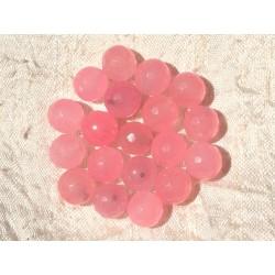Fil 39cm 37pc env - Perles de Pierre - Jade Boules Facettées 10mm Rose Bonbon