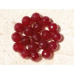 Fil 39cm 37pc env - Perles de Pierre - Jade Boules Facettées 10mm Rose Rouge Framboise
