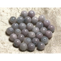 Fil 39cm 39pc env - Perles de Pierre - Jade Boules 10mm Bleu Rose Pastel