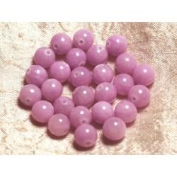 Fil 39cm 39pc env - Perles de Pierre - Jade Boules 10mm Rose Mauve