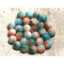 Fil 39cm 39pc env - Perles de Pierre - Jade Boules 10mm Bleu Turquoise Orange