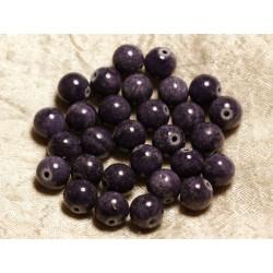 Fil 39cm 39pc env - Perles de Pierre - Jade Boules 10mm Bleu Violet Indigo