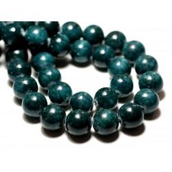 Fil 39cm 39pc env - Perles de Pierre - Jade Boules 10mm Bleu Vert Paon