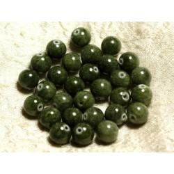 Fil 39cm 39pc env - Perles de Pierre - Jade Boules 10mm Vert Kaki