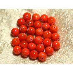 Fil 39cm 39pc env - Perles de Pierre - Jade Boules 10mm Orange