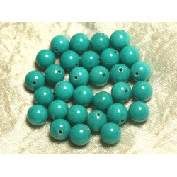 Fil 39cm 39pc env - Perles de Pierre - Jade Boules 10mm Vert Turquoise