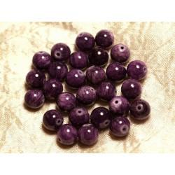 Fil 39cm 39pc env - Perles de Pierre - Jade Boules 10mm Violet Mauve