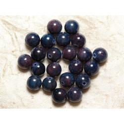 Fil 39cm 39pc env - Perles de Pierre - Jade Boules 10mm Bleu Nuit Violet