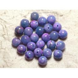 Fil 39cm 39pc env - Perles de Pierre - Jade Boules 10mm Bleu Mauve Rose