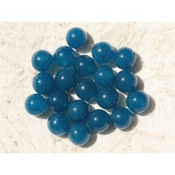 Fil 39cm 37pc env - Perles de Pierre - Jade Boules 10mm Bleu Vert Paon