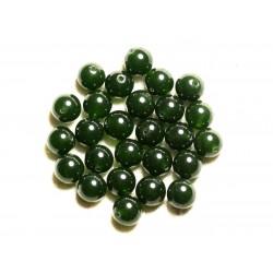 Fil 39cm 37pc env - Perles de Pierre - Jade Boules 10mm Vert Olive Sapin