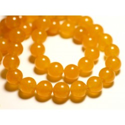 Fil 39cm 37pc env - Perles de Pierre - Jade Boules 10mm Jaune Orange Safran