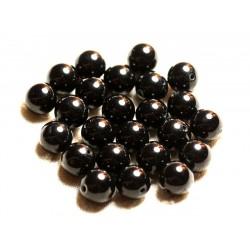 Fil 39cm 37pc env - Perles de Pierre - Jade Boules 10mm Noir