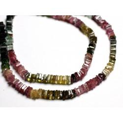 Fil 40cm 180pc env - Perles de Pierre - Tourmaline Multicolore Rondelles Carrés Heishi 3-4mm