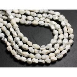 Fil 39cm 38pc env - Perles de Pierre - Howlite Nuggets Facettés 9-11mm