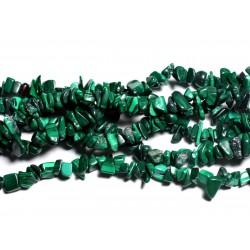 Fil 89cm 300pc env - Perles de Pierre - Malachite Rocailles Chips 3-8mm